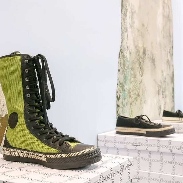 NEW_CLASSICS @converse X JW ANDERSON DROP 3 JWA X CONVERSE GREEN MESH CHUCK TAYLOR KNEE HIGH JWA X CONVERSE BLACK MESH BALLERINA JWA X CONVERSE BLACK CANVAS BALLERINA AVAILABLE ONLINE AND IN JW ANDERSON WORKSHOPS NOW #ConverseXJWAnderson #JWANDERSON