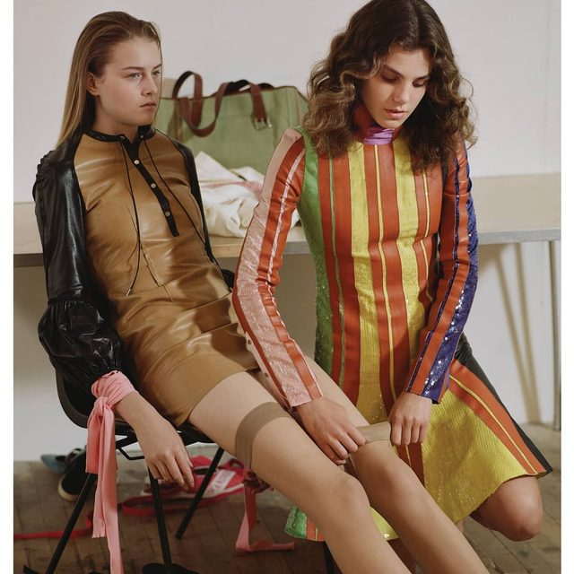 LEAF GREEN SEQUIN AND LEATHER STRIPE DRESS CAPPUCCINO MINI LEATHER SHIFT DRESS WITH PUFF SLEEVES WOMENS SPRING SUMMER 2018  PHOTOGRAPHER @markrkean  STYLIST @eliza_conlon  MAKE UP @siobhan_furlong HAIR @davidharborow  CASTING @nachumshonn MODEL #ELSPETH #HARMONY LINK IN BIO  AVAILABLE ONLINE AND IN JW ANDERSON WORKSHOPS  #JWANDERSON #JWANDERSONWORKSHOPS