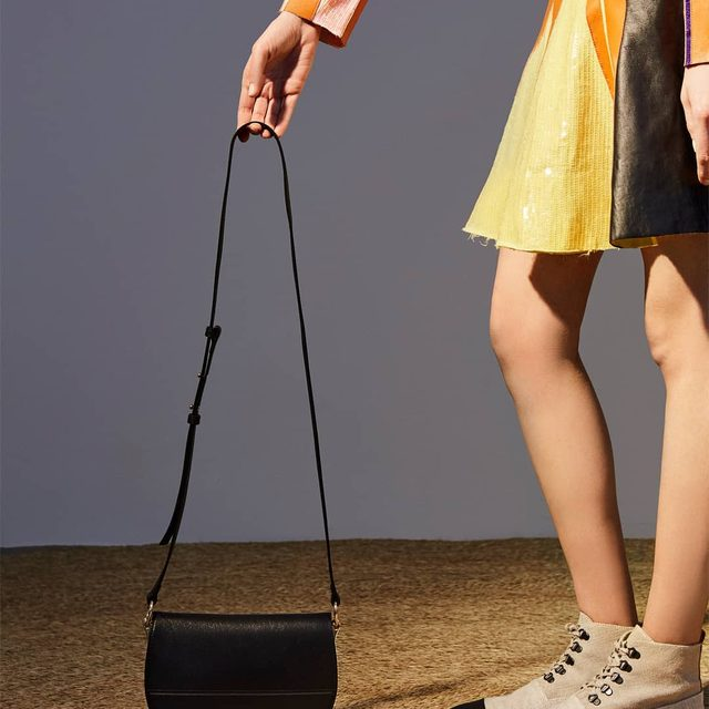LEAF GREEN SEQUIN AND LEATHER STRIPE DRESS FOREST GREEN LATCH BAG OATMEAL HI TOP ESPADRILLE BOOTS LOOK 35 WOMENS SPRING SUMMER 2018  ART DIRECTION @bureaufuture  AVAILABLE ONLINE AND IN JW ANDERSON WORKSHOPS #JWASS18 #JWANDERSON #JWANDERSONWORKSHOPS #LATCHBAG